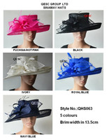 Wholesale Wide brim Sinamay Hats Fascinators Church hats for races wedding kentucky derby colors black ivory royal hot pink navy blue