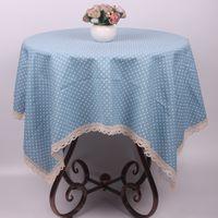 Wholesale Pink Purple Blue Green Polka Dot Cotton Linen Table Cloth Cover ZAKKA Japan Korea Style Tablecloth