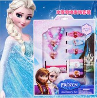 Wholesale Christmas Gift Frozen Elsa Anna princess Necklace Hairpin clips Bracelet Hair bands head rope Jewelry Set Children Party Accessory girl new