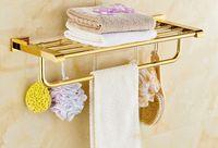 Wholesale 2016 NEW free ship European brass gloden brath towel shelf brass Bathroom Accessories