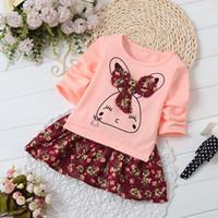 Wholesale Summer children s princess skirt long sleeve floral dress children rabbit splicing cartoon color matching flower girl dress children s skirt