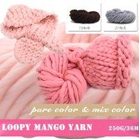 Wholesale Popular Beautiful Thick Yarns Loopy Mango Yarn g Hand Knitting Hat Yarn Neckerchief Wool Yarn Pure Color Mix Color