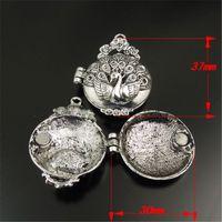 Wholesale Silver Tone Jewelry Box - 3PCS Antique Style Silver Tone Locket Prayer Box Pendants Charms Findings 37*30*14MM jewelry making