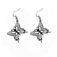 antique jewelr - selling fashion jewelry alloys hollow female butterfly shaped earrings plated antique silver jewelr pair drop shipping