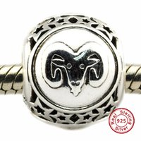 aries flower - 2016 Aries Star Sign Charm Sterling Silver Beads Fit Pandora Charms Bracelet Authentic DIY Fashion Jewelry