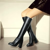 Femmes Talons hauts en cuir véritable bottes de mode Femmes en plein air Chaussures Chunky talon Zipper Bottes Long genou Taille 34-42