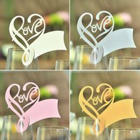Wholesale Hot selling Pack White Table Mark Wine Glass Love Name Place Cards Wedding Party Favor Decor