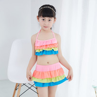 beach baby swimwear - Hot summer girls swimwear sexy bright bikini kids two pieces ruffles halter neck tops flat skort Children Baby girl swimsuit beach clothing