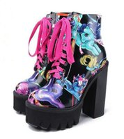 animations booties - Jeffrey Campbell Lita Hand Painted Cartoon Chunky Platform Heels Ankle Boots Genuine Leather Black Lace Up High Heels Women s Martin Booties