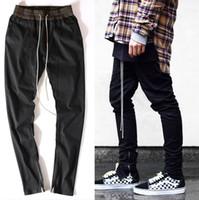 Wholesale high quality men clothes famous slp ankle zipper justin bieber rockstar black distressed ripped skinny god jeans hip hop