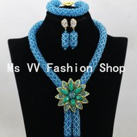 african handmade jewelry - african beads jewelry handmade set blue silver negerian wedding dubai gold indian bridal fashion jodha akbar necklace set G01