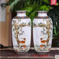 antique modern cabinets - Jingdezhen porcelain ceramic flower vase antique living room TV cabinet modern decorative porcelain decoration crafts