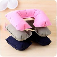 Wholesale Travel Pillow Portable Folding Inflatable Neck Pillow Air Cushion U Shape Neck Travel Pillow Comfortable Business Trip Pillow Outdoor Office