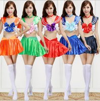 Cheap M24 Role play the clothing Japanese anime character Sailor moon Colorful Sexy Cheerleaders costumes Cosplay costume suits Free Shipping