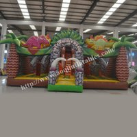 amusement play equipment - AOQI amusement park equipment the dinosaur world fun city colorful inflatable fun city with bouncy house for kids