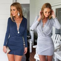 Wholesale Hot Sexy Casual V neck Sheath Mini Dress High Stree Hip Package Slim Cross Dress Women Clothing