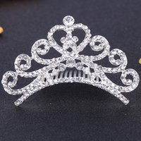 Wholesale DHL Free Wedding Diamond Crown Hair Combs Crystal Heart Tiaras For Gilr s Hair Jewelry Hair Accessories Hair Bows Hot Selling