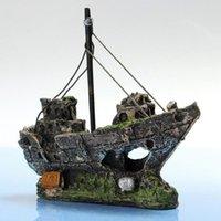 Wholesale Beautiful Aquarium Ornament Wreck Sailing Boat Sunk Ship Destroyer Fish Tank Aquarium Decoration