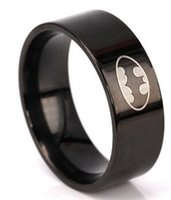 Wholesale Batman New Stainless Steel Ring For Women Men Black Color Wedding Rings Fashion Cool Cute Lovely