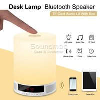 audio speaker switch box - Retail Durable Handfree Hifi Wireless Mini Bluetooth Music Speaker Alarm Clock Touch Switch LED Night TF Card Audio L2 With Box