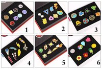 Wholesale 6style Children gift box Poke Metal Badge Brooch Poke mon Zinic Alloy Brooch Poke Action Figures Anime toys cm set