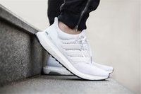 Wholesale 2016 New Updated Quality Ultra Boost All White Color Unisex Men and Women Sporting Shoes Boots Low With Box US