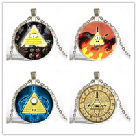 Wholesale Cheap Glass Necklaces - Free shipping top selling wholesale Anime cartoon Gravity Falls cute cheap pendant&necklace silver antique bronze long necklace gift