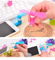 Wholesale 2 in USB Fan Portable Cooling Fan Mini MICRO USB Fan Leaves Flexible USB Gadget Fans for iPhone Android