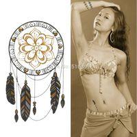 Wholesale New Arrival tribal designs style Gold metallic flash tatoos inspired tattoo decal standard waterproof stickers J37