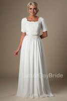 Wholesale 2016 Vintage Lace Chiffon Ivory Long Modest Wedding Dresses With Half Sleeves A line Temple Bridal Gowns Reception Bridal Dress Custom Made
