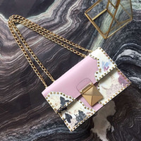 bag fund - Vogue of new fund of European and American wind is imported cowhide printing rivets female bag shoulder bag