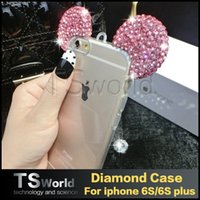 Wholesale Clear Silicone Ears - iphone 6S plus 5s se samsung s7 edge s6 edge Case Bling Bling Glitter Mickey Ears luxury Diamond Soft TPU Case clear back cover LG HUAWEI