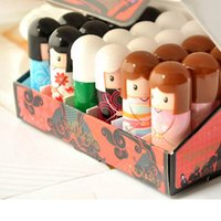 Wholesale 120pcs Makeup Kimono Doll Ball Moisturizing lip balm Natural Sphere Lip Pomade Lipstick Fruit Embellish Dudak Nemlendirici