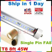 Wholesale UL T8 ft LED Tube Lights Single Pin FA8 Led Lights W lumens Led LED Fluorescent Tubes Light V Stock In US