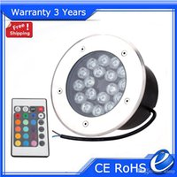 Wholesale 18W Remote LED Underground Light RGB Buried Lamp Lights Outdoor Floodlight RGB Color Change Wall Washer Warranty Years