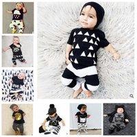 animal crossing clothing - Baby Ins suit Summer Outfits Letter Batman T Shirts T Shirt Cross Harem Pants Toddler Clothing Set Newborn Kids Clothing KKA524