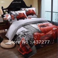 Wholesale Designer Car Print Bedding Set Cotton Fabric Full Queen Duvet Quilt Cover Bed sheet Pillowcase Bedclothes Textile Comforter Sets