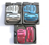 Wholesale 2x Automatic lines stripe foot pedal brake pedal accelerator pedal basic Color Red Blue