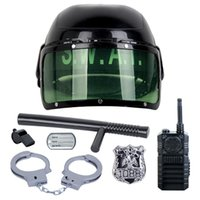 Wholesale 7Pcs set kids toys Riot Police Hat Cosplay Kids Helmet Cop Handcuffs Walkie Talkie Badge Pretend Play House Toys for children