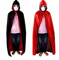 Wholesale Halloween Costume Devils Party Dress Red and Black Collar Double Vampire Cape God of Death Cloak Adult Children Cosplay Designs MC0356