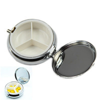 Wholesale Metal Pill Box Portable Round Silver Organizer Medicine Case Easy to Carry Convenient Thoughtful Beautiful
