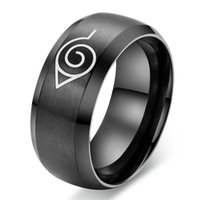 Wholesale Anime naruto ring black gold cool men jewelry stainless steel mens man party accessories