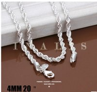Wholesale hot sale Fashion Sterling Silver Jewelry Set Rope Chain Necklace And Bracelet Simple Twist Rope Necklace Jewelry Sets