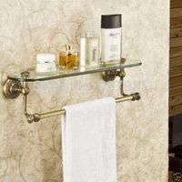 antique glass bathroom shelf - New Antique Brass Bathroom Single Tier Bathroom Glass Storage Rack Wall Mount Bathroom Shelf with Towel Bar