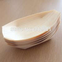 Wholesale 50 pieces White Wooden Disposable sushi boat Sushi Tray quot