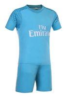Wholesale 2016 Real Madrid kids blue Goalkeeper RD Black Soccer Jerseys Boys camiseta RONALDO kits JAMES KROOS BALE football shirts