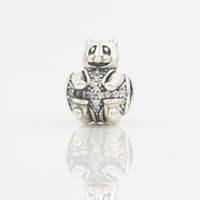 bearing components - Antique Silver Charms Beads Big Bear With White CZ Diamond Paved Animal Jewelry Making Charms DIY European Jewelry Findings Components Bulk