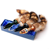 Wholesale 1PC Butt Plug Anal Plug Faux Fox Tail Bung Glass Beads Funny Sex toys for women Anal