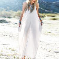 baggy maxi dress - Summer Casual Vestidos Women Strapless Long Maxi Beach Dress Sexy V Neck Sleeveless Long Maxi Baggy Dress Plus Size S XL