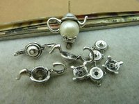 antique silver pots - 10Sets X21 X7mm Antique Silver Lovely Filigree Tea Pot Bead Caps c3056